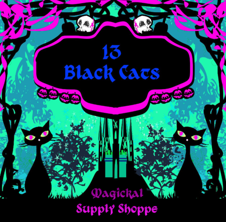 13 black cats magical supply shop logo
