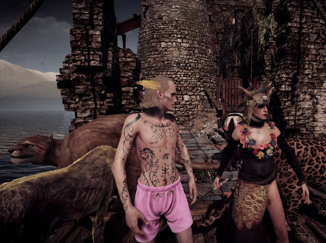 Avallac'h in pink underwear and Ciri in lore-friendly skimpy black dress with slit skirt