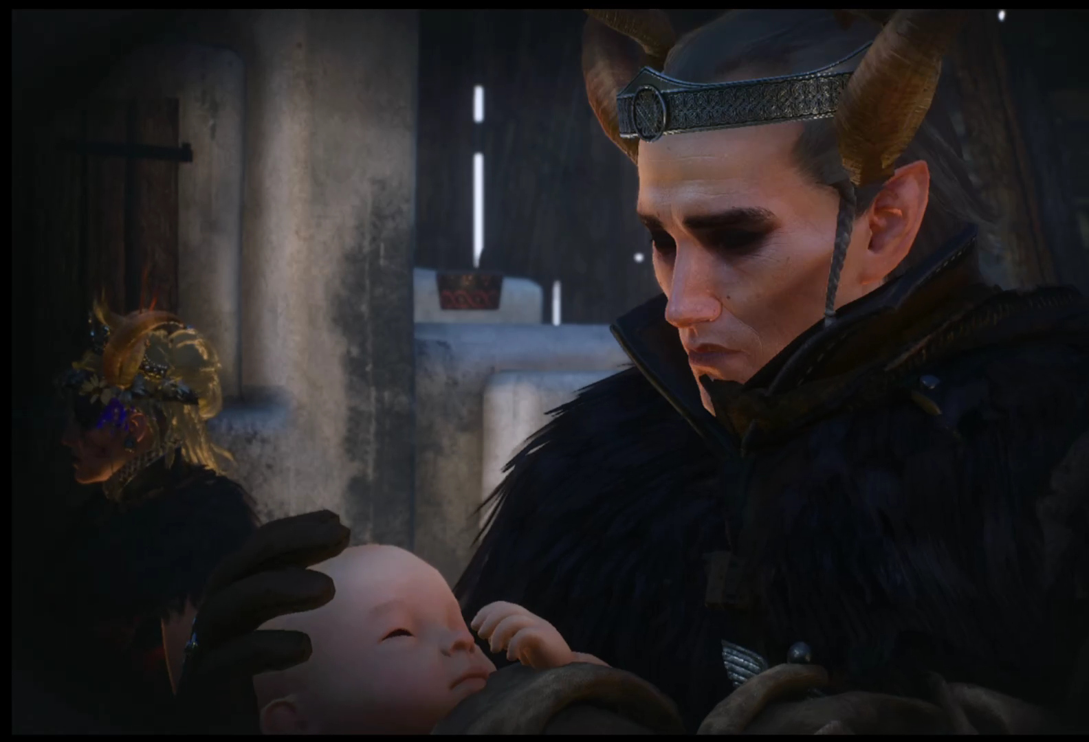 Avallac'h and Ciri with a baby