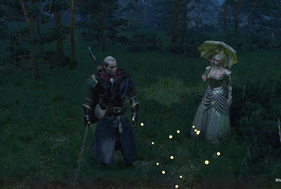 Avallac'h with Lara Dorren as she appears in Witcher 3