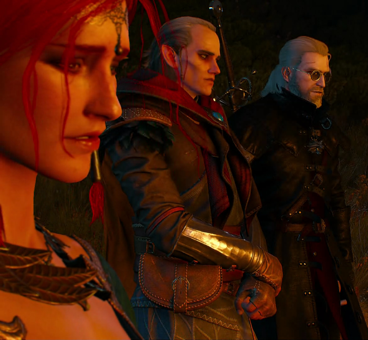 Avallac'h, Geralt, and Triss at Vesemir's funeral