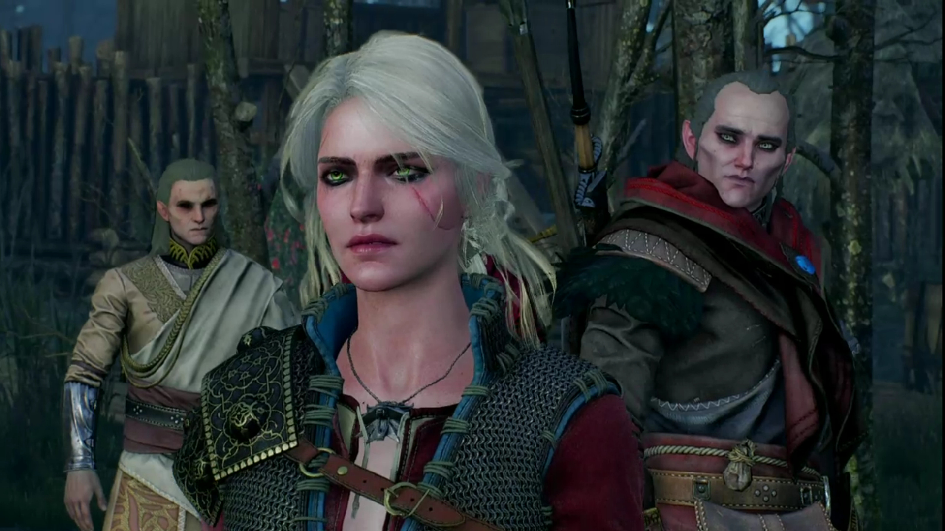 Ge'els, Ciri in DLC gear, and Avallac'h - all vanilla, without mods changing how they look
