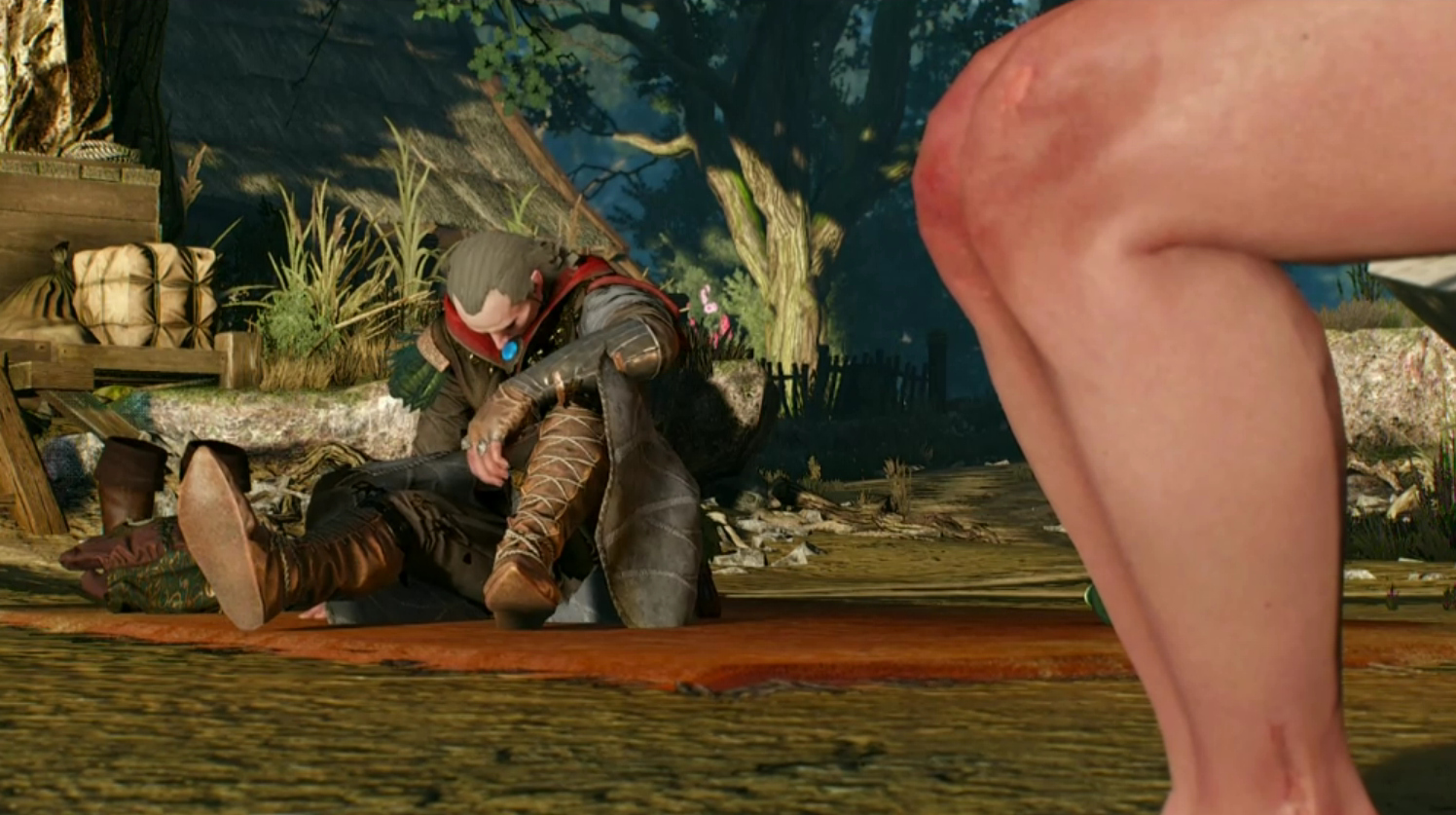 *Avallac'h, dazed and frightened, on the shore by the lake, after Ciri raped him.*