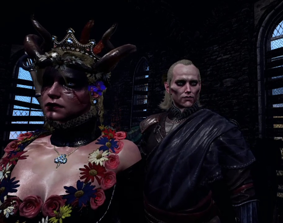 Lore-friendly Ciri with golden blond dreadlocks rolled in ashes, blue eyes, mask of ashes, and skimpy black dress, as described in the novel Lady of the Lake