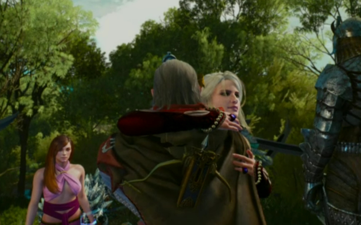 Ciri hugging Avallac'h, Isillia fuming mad.