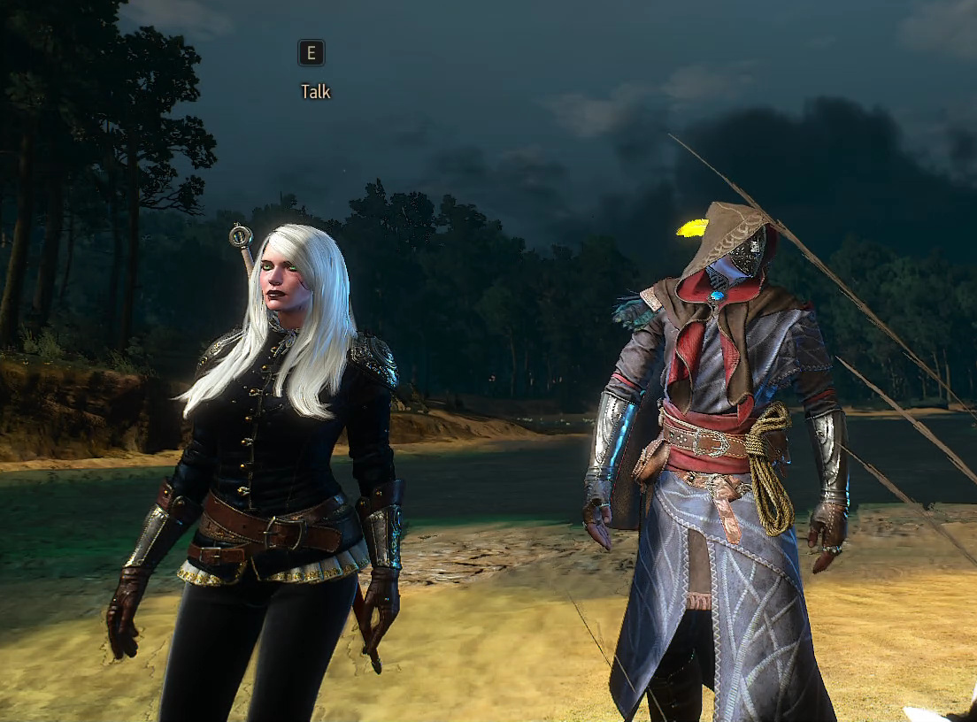 Ciri modded with long white hair, gothic make-up, and Syana's armor with Avallac'h in White Orchard