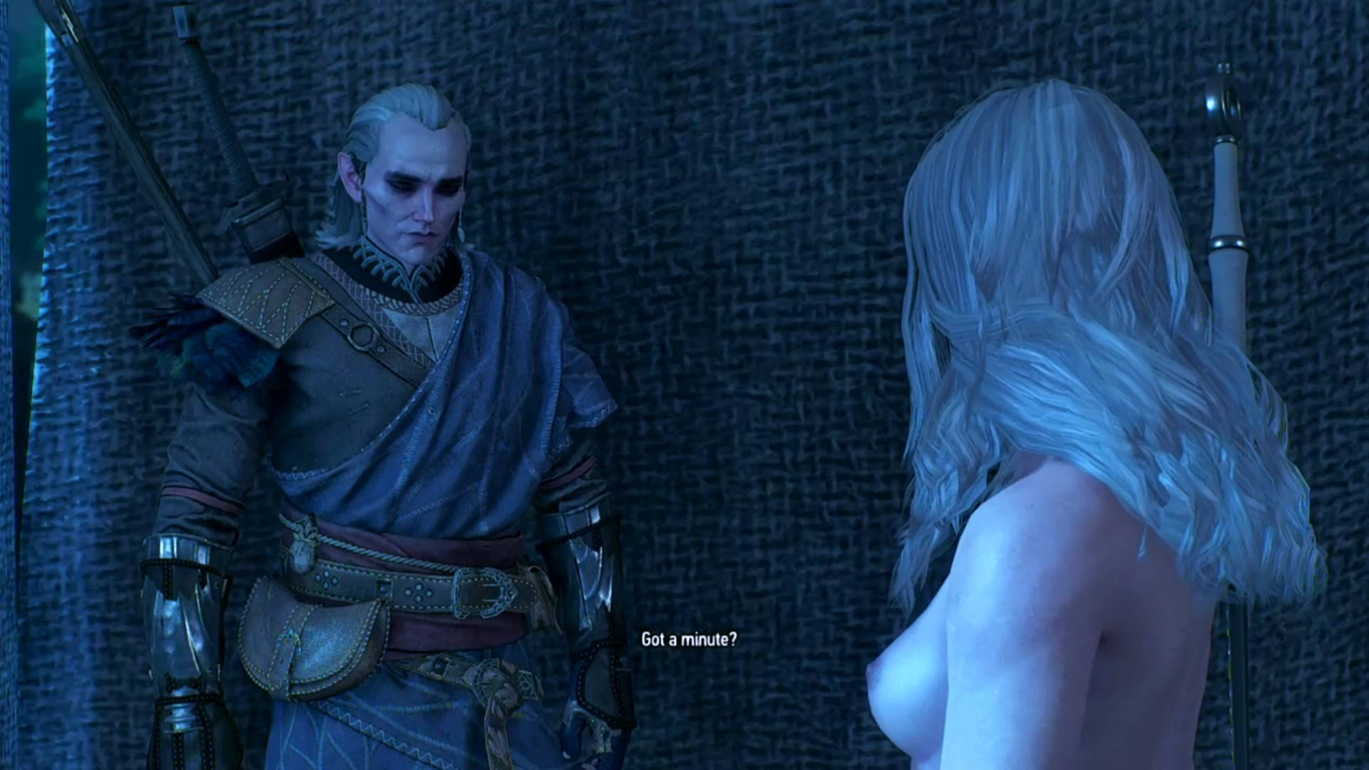 From very early in the 1st Avallac'h Playthrough (about April 2018), when we had a topless Ciri traveling with him.