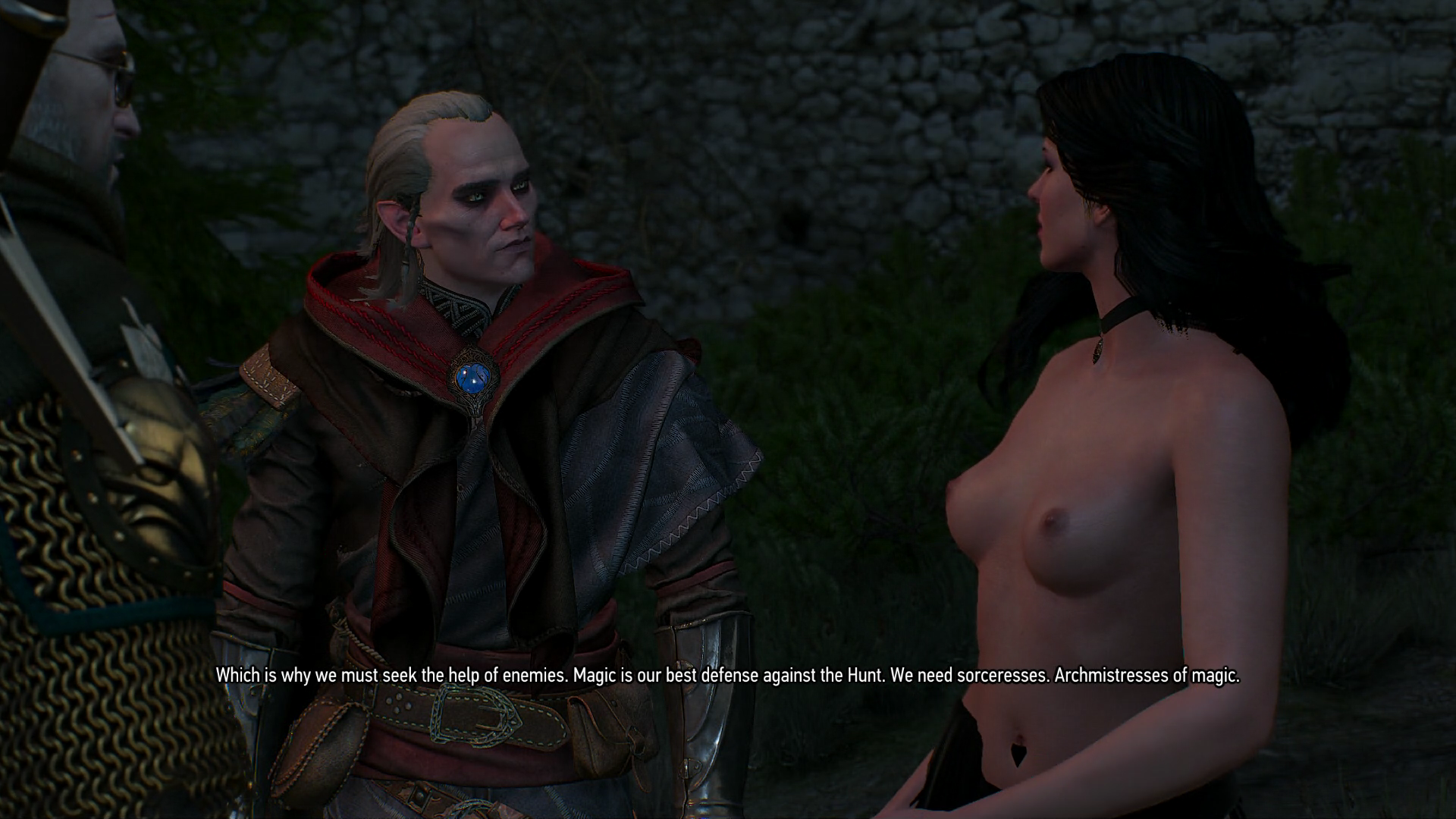 Geral, Avallac'h, and a topless Yennefer