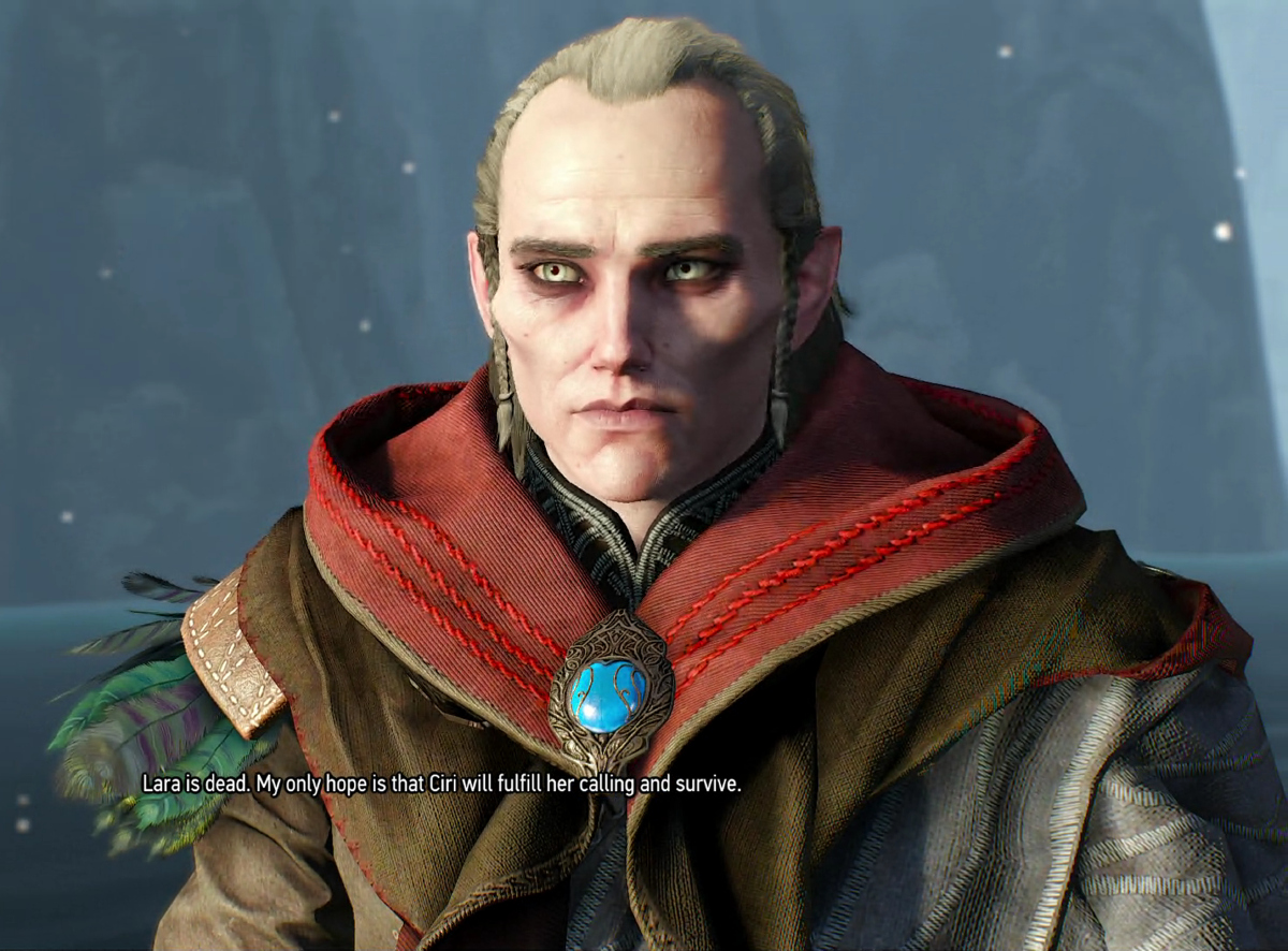 *Avallac'h seen here in Child of the Elder Blood, trying to think of how to word his answer, as Geralt demands an explanation for the things he, Yennefer, and Ciri found in Avallac'h's Udvik lab.*