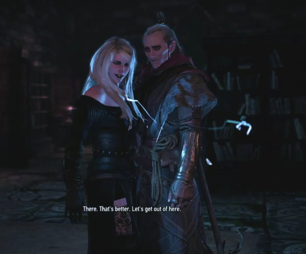 *Avallac'h and Ciri at Pali Gap - day after Tango - they've made up and he doesn't seem to mind having been chained to the bed.*