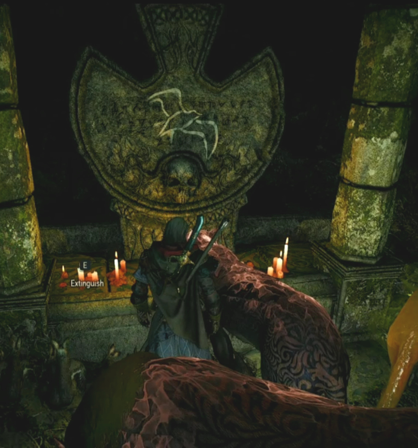 Lara Dorren's grave in Avallac'h's Velen Hideout