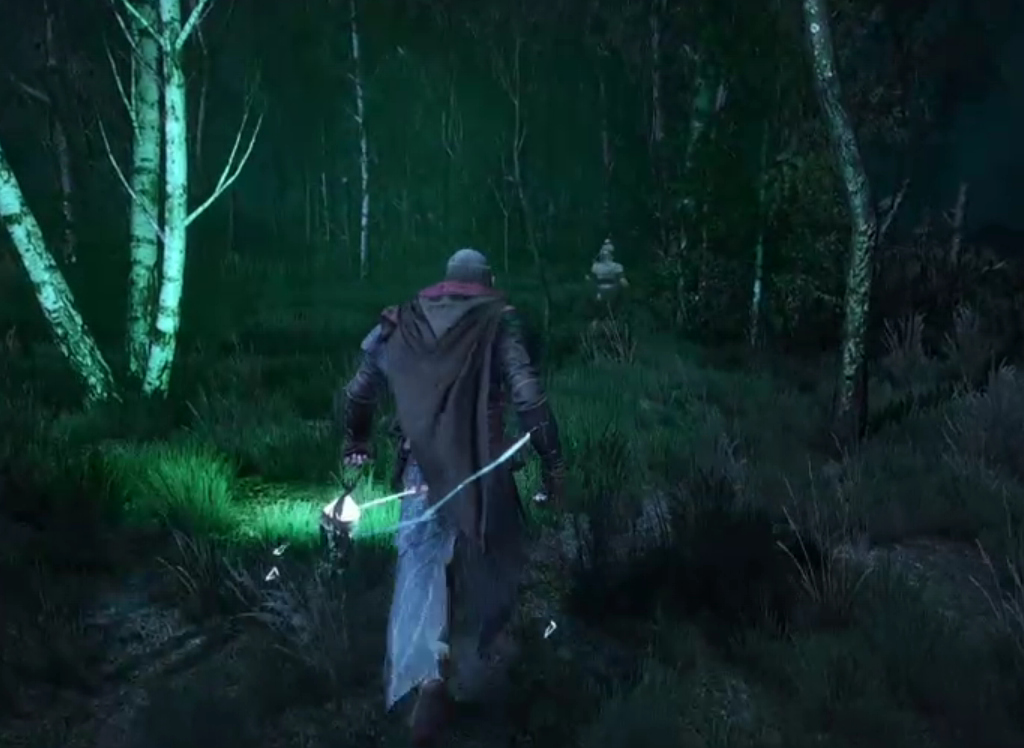 *(Avallac'h, carrying the Wraith lamp, while his body gives off a green Wraith light glow. Ciri walking by in the distance.)*