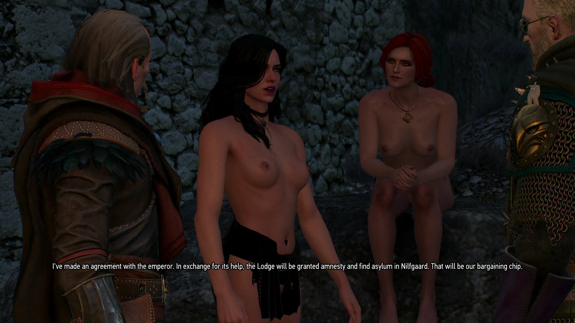 Avallac'h and Geralt with nearly nude Yennefer and naked Triss Merigold.